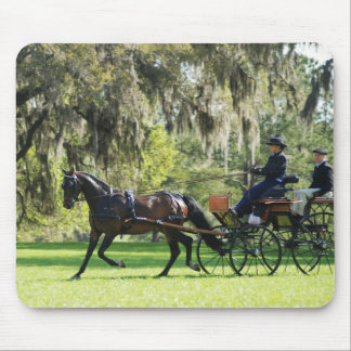 single black horse pulling carriage mouse pad
