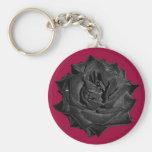 Single Black Rose Keychain