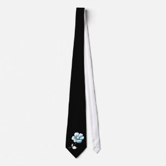 single blue and white flower on black tie