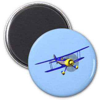 Single Blue Biplane Magnet
