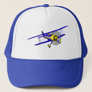 Single Blue Biplane Trucker Hat