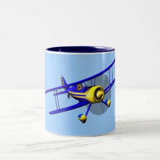 Single Blue Biplane Two-Tone Coffee Mug