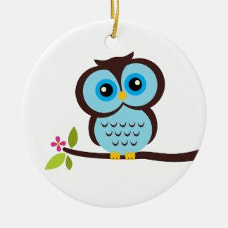 Single Blue Owl Ceramic Ornament