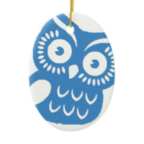 Single Blue Owl Ceramic Ornament