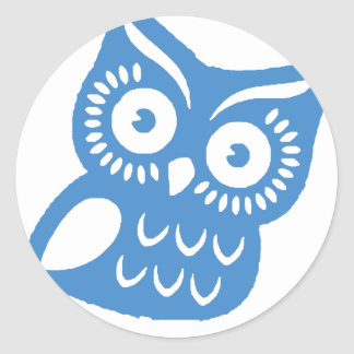 Single Blue Owl Classic Round Sticker
