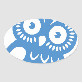 Single Blue Owl Oval Sticker