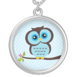 Single Blue Owl Silver Plated Necklace