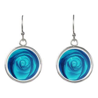 Single Blue Rose - Earrings