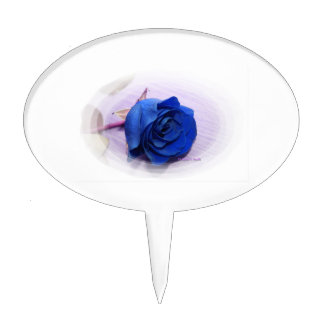 Single blue rose within an oval Frame Cake Topper