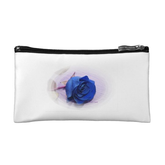 Single blue rose within an oval Frame Cosmetic Bag