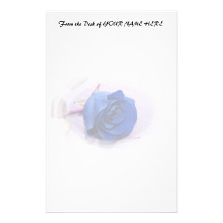 Single blue rose within an oval Frame Stationery