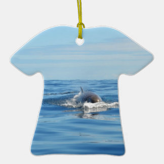 Single Bottlenose Whale Double-Sided T-Shirt Ceramic Christmas Ornament