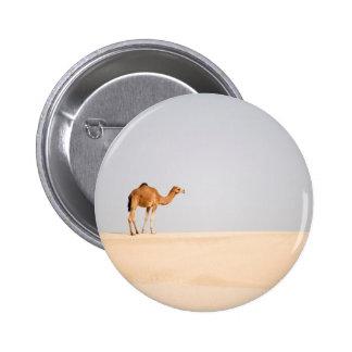 Single camel on Arabian sand dunes Pinback Button