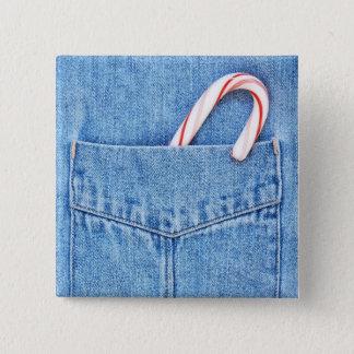 Single Candy Cane in Denim Pocket Pinback Button