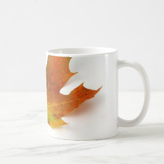 Single Coloured Maple Leaf On White Background Coffee Mug