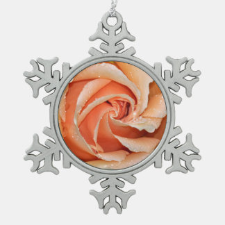Single coral color rose pewter snowflake ornament