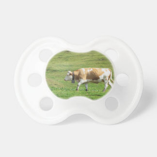 Single cow in an alpine pasture pacifier