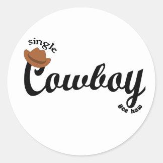 single cowboy yeehaw classic round sticker