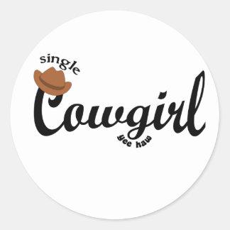 single cowgirl yeehaw classic round sticker