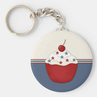 Single Cupcake Customizable Basic Round Button Keychain