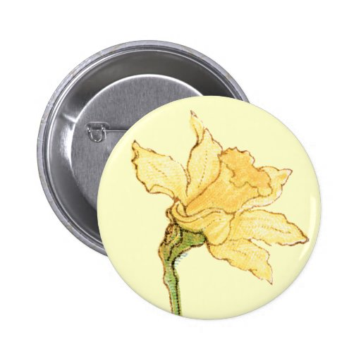 Single Daffodil Illustration by Kate Greenaway 2 Inch Round Button