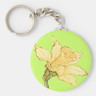Single Daffodil Illustration by Kate Greenaway Keychain