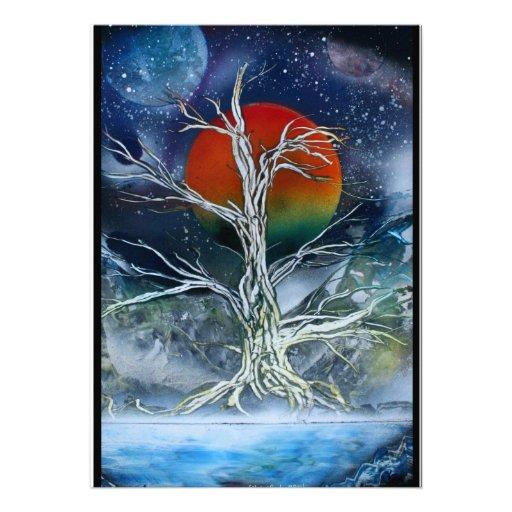 Single Dead Tree Foggy Night Orange Moon Custom Invitation