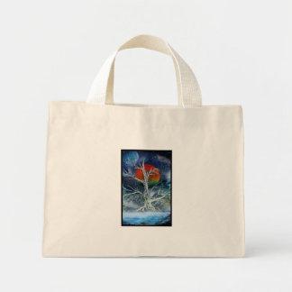 Single Dead Tree Foggy Night Orange Moon Mini Tote Bag