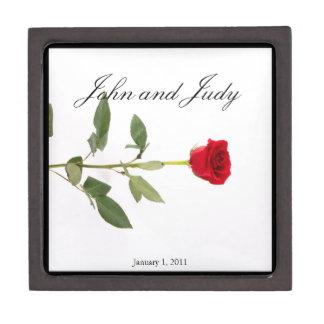 Single Elegant Long Stem Red Rose Jewelry Box