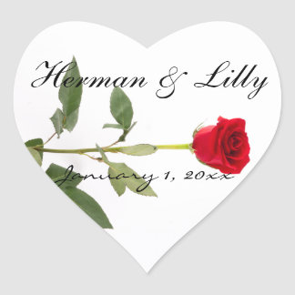 Single Elegant Long Stem Red Rose Personalized Heart Sticker