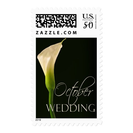 Single elegant wedding calla lily for October Postage