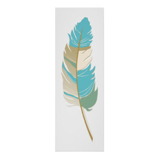 Single Feather  - Teal, Cream and Green Colors Poster