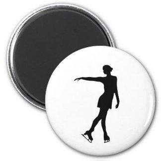 Single Figure Skater Black & White 2 Inch Round Magnet