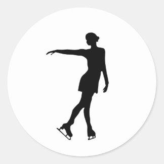 Single Figure Skater Black & White Classic Round Sticker