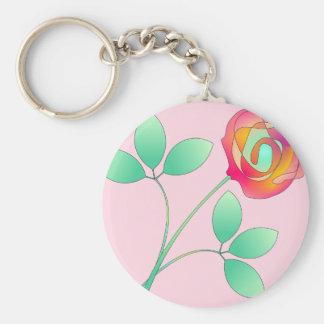 Single Flower Basic Round Button Keychain