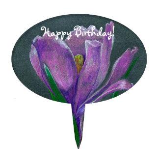 SIngle flower  crocus sketch  hand drawin pencil Cake Topper