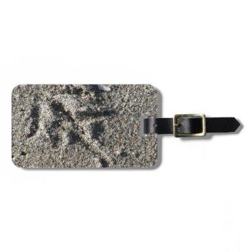 Beach Themed Single footprint of seagull bird on beach sand bag tag