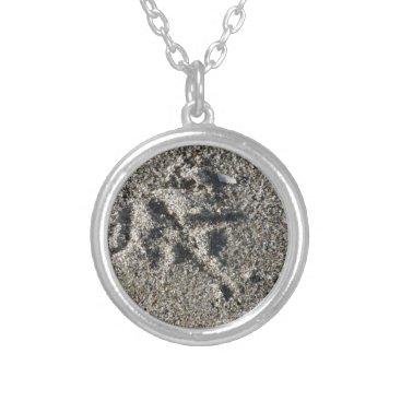 Beach Themed Single footprint of seagull bird on beach sand silver plated necklace