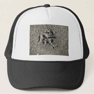Single footprint of seagull bird on beach sand trucker hat