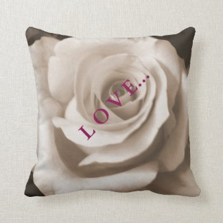 Single Graceful Rose Cushion. Throw Pillow