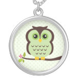 Single Green Owl Silver Plated Necklace