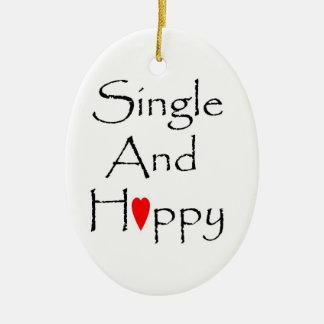 Single & Happy Oval Ornament