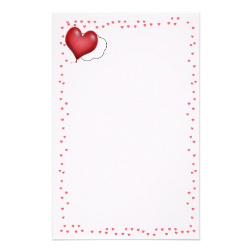 Single Heart Balloon Flying Solo Stationery Paper