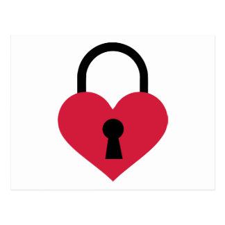 Single heart lock postcard