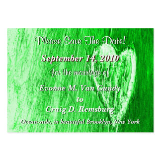 Single Heart Save The Date In Light Green Large Business Cards (Pack Of 100)