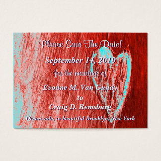 Single Heart Save The Date In Red Business Card
