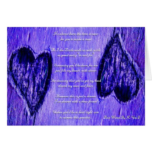 Single Heart Will You Be My Bridesmaid Blue Purple Card