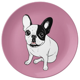 Single Hooded Brindle Pied Frenchie Plate