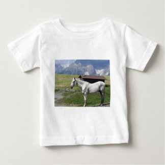 Single horse in an alpine pasture baby T-Shirt