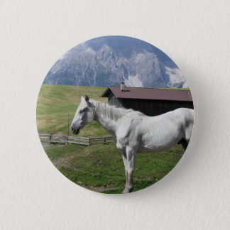 Single horse in an alpine pasture button